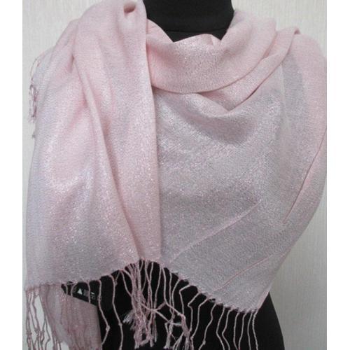 Женский розовый палантин из вискозы и шелка