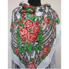 Украинский шерстяной платок Богдана Белый