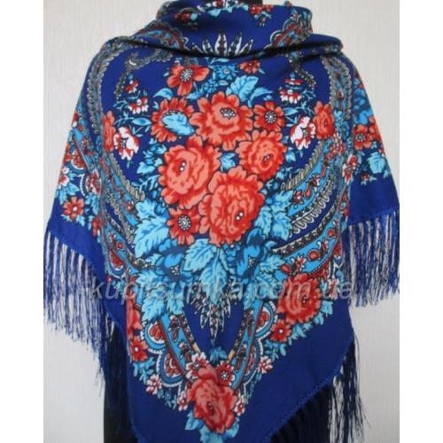 Украинский шерстяной платок Богдана Синий