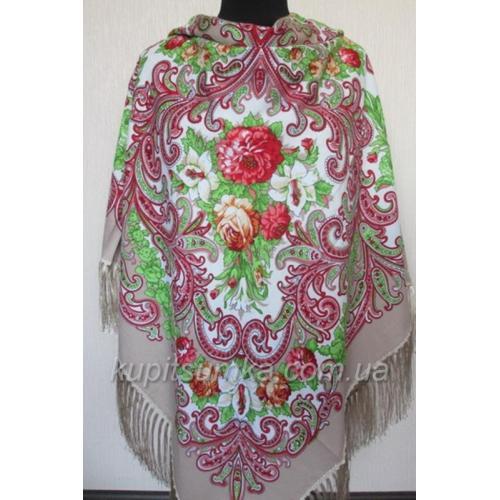 Украинский шерстяной платок Забава Кофейный