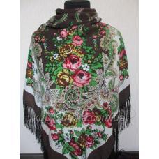 Украинский шерстяной платок Наталка Коричневый