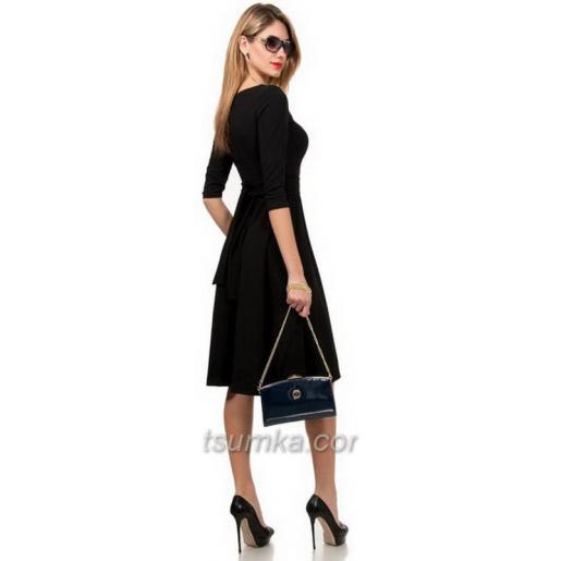 Очаровательный женский клатч с логотипом бренда Синий лаковый