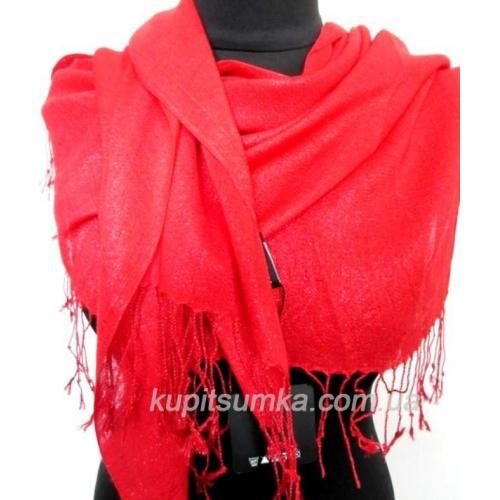 Женский красный палантин из вискозы и шелка