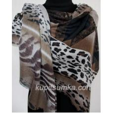 Женский шерстяной палантин тигровой расцветки 552П