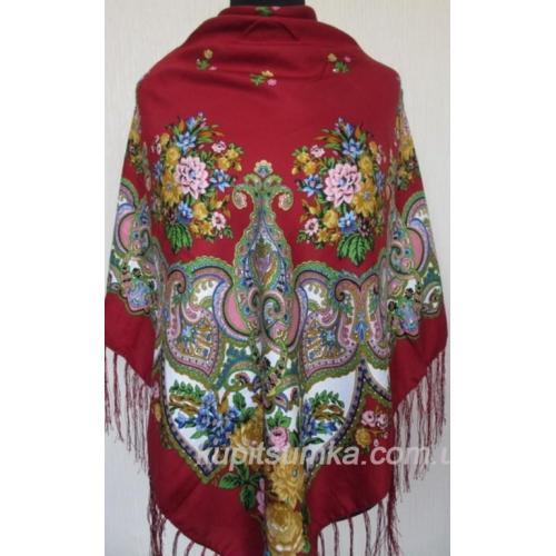 Украинский платок Казачка Вишневый