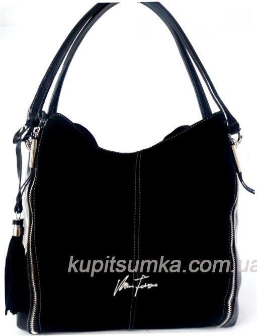 0814caf92025 Женская сумка в форме мешка из натуральной кожи и замши цвет чёрный